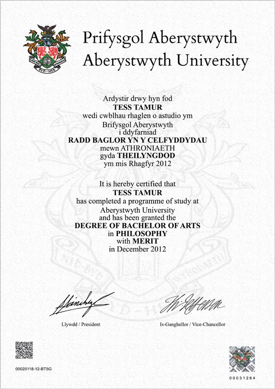 Frame for degrees from Aberystwyth University | University Degree ...