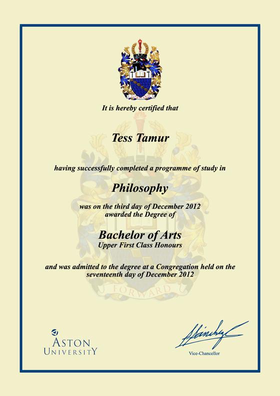 Frame For Degrees From Aston University University Degree