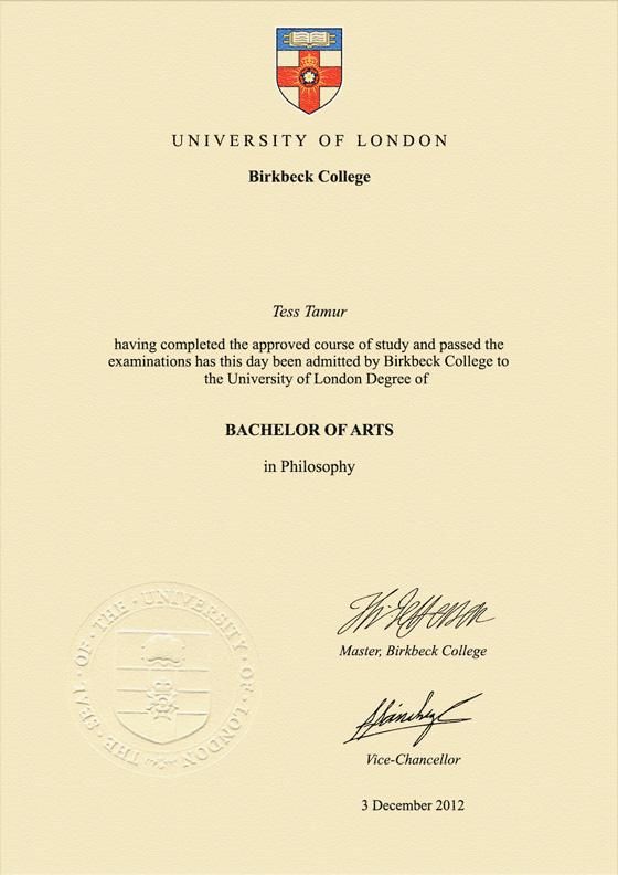 Frame for degrees from Birkbeck College | University Degree ...