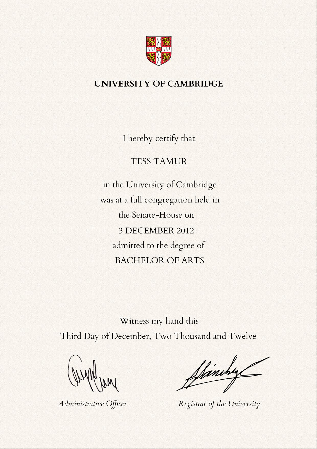Frame For Degrees From University Of Cambridge University Degree