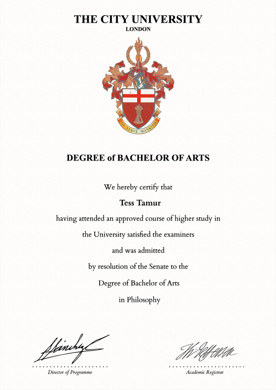Frame for degrees from City University | University Degree ...