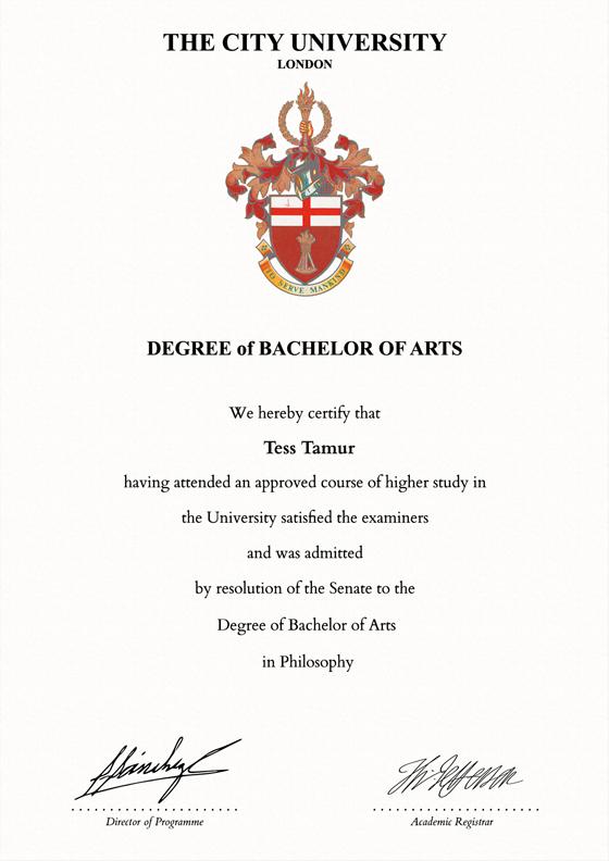 Frame For Degrees From City University University Degree