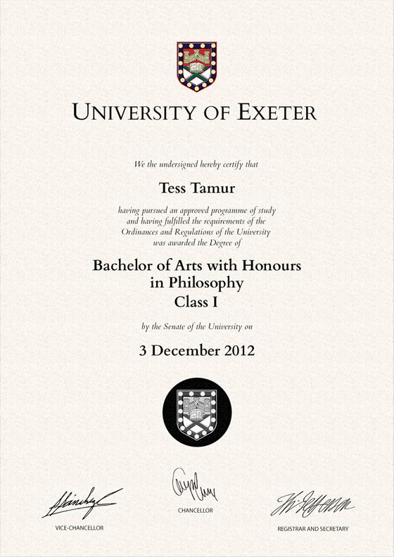 Frame For Degrees From University Of Exeter University Degree