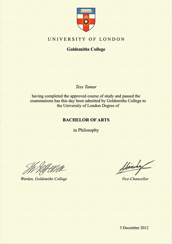 Frame for degrees from Goldsmiths College | University Degree ...