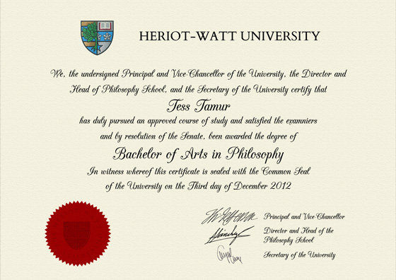 Frame for degrees from Heriot-Watt University | University Degree ...