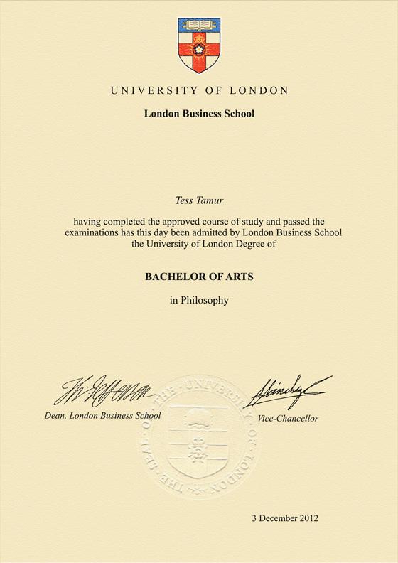 Frame for degrees from London Business School   University Degree ...