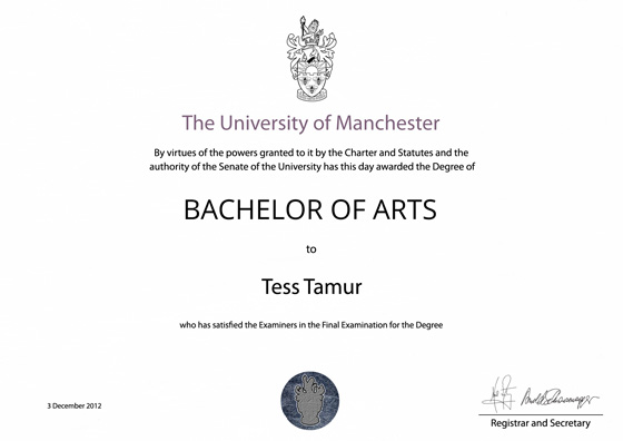 Frame for degrees from University of Manchester | University Degree ...