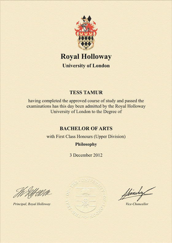 Frame for degrees from Royal Holloway and Bedford New College ...