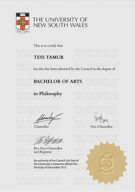 University Wales Degree Certificate Sample Image